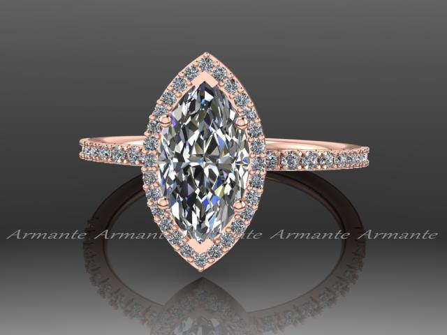 Marquise Moissanite Diamond Engagement Ring, 14K Rose Gold Wedding Ring RE00169W