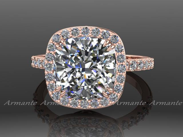 14K Rose Gold Diamond Wedding Ring Cushion Moissanite Ring