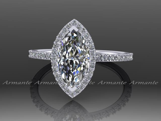 Marquise Moissanite Diamond Engagement Ring, 14K White Gold Wedding Ring RE00169W