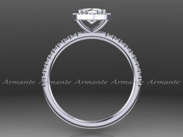 Marquise Cut Moissanite & Diamond Wedding Ring