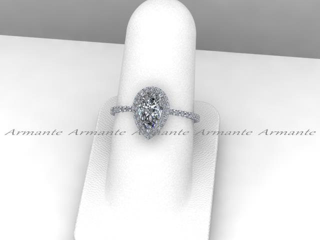 Pear Moissanite Engagement Ring, 14K White Gold