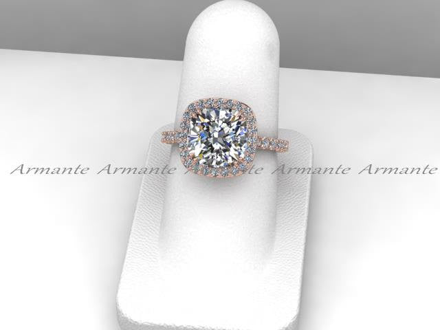 Moissanite Engagement Ring, 14k Rose Gold Diamond Wedding Ring 3.43 Carat Cushion Moissanite
