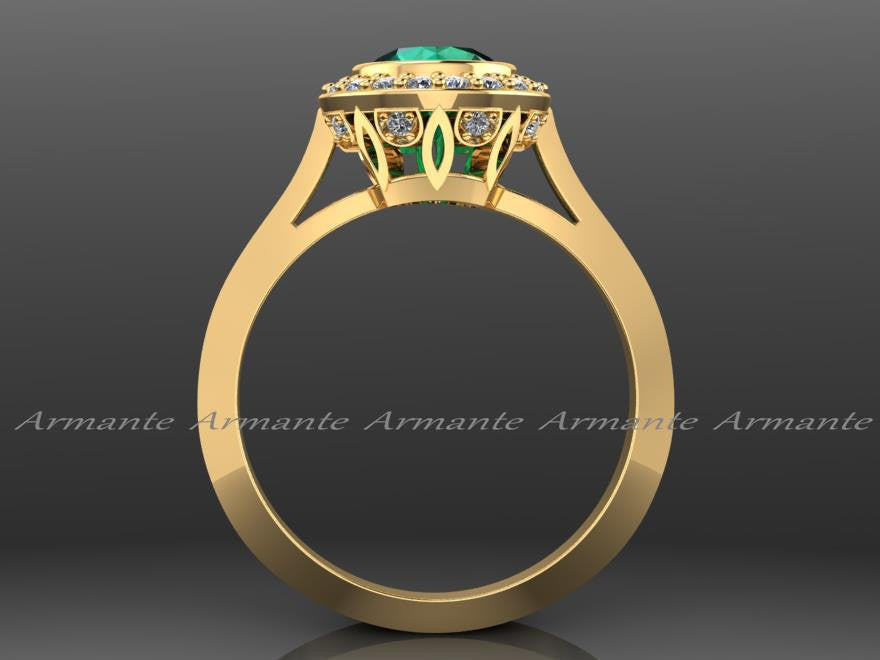 Yellow Gold Vintage Style Natural Emerald And Diamond Ring