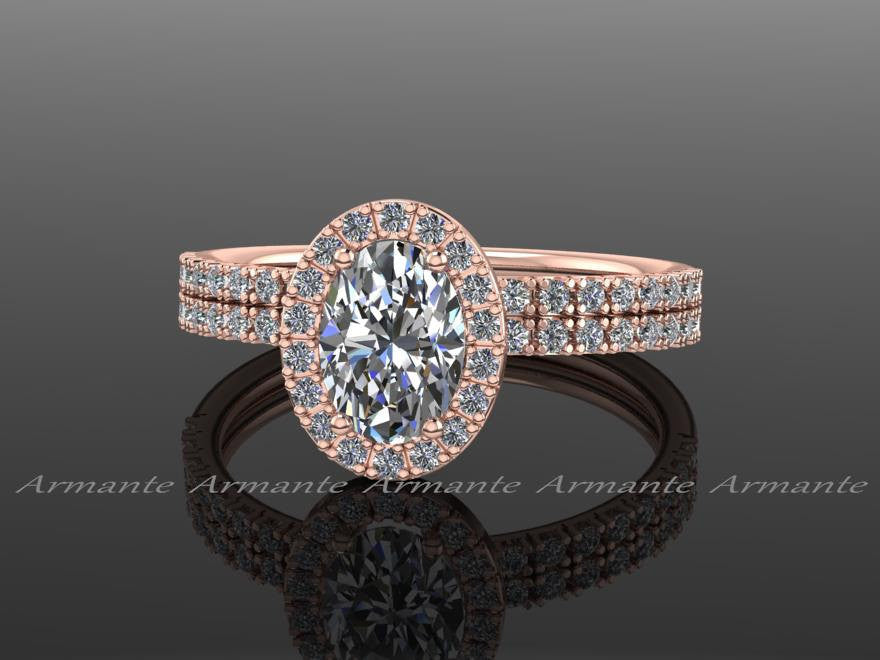 Oval Halo Bridal Ring Set Rose Gold Moissanite & Diamond