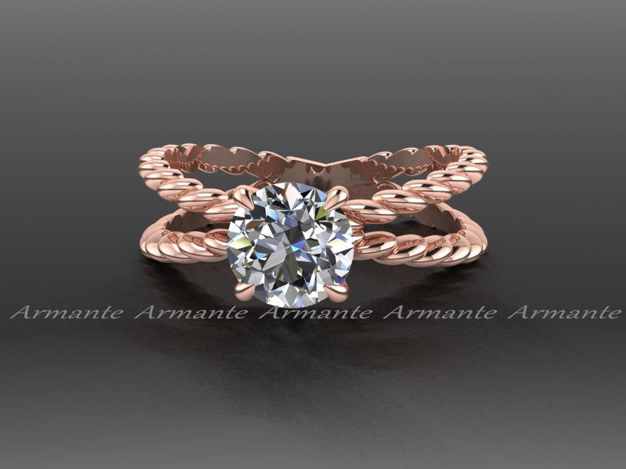 Rose Gold Forever Brilliant Moissanite Engagement Ring