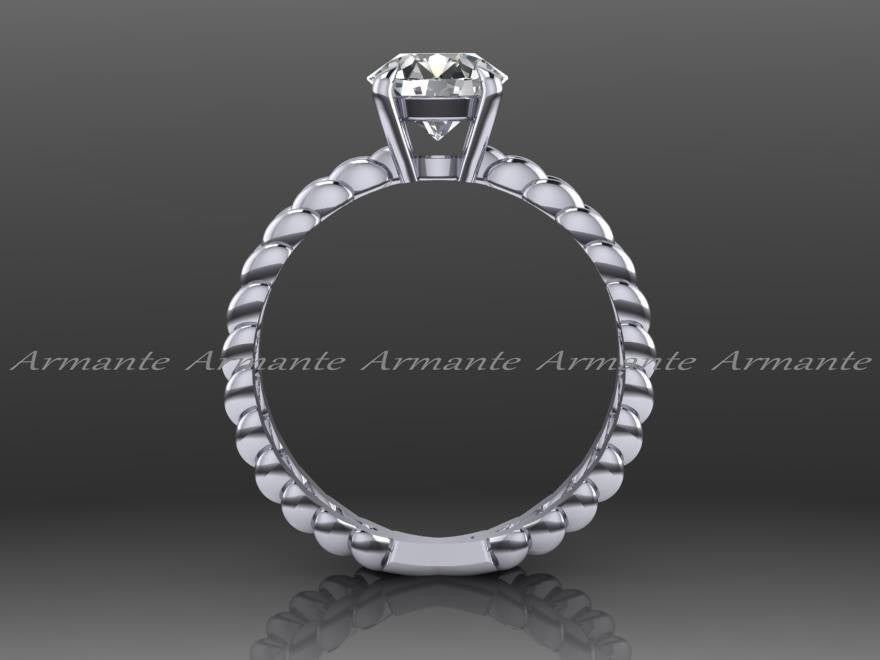 White Gold Criss Cross Solitaire Moissanite Engagement Ring
