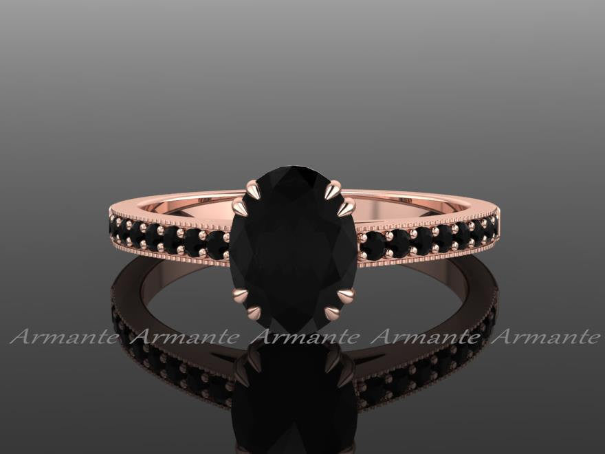 Oval Black Diamond Engagement Ring, 14K Rose Gold