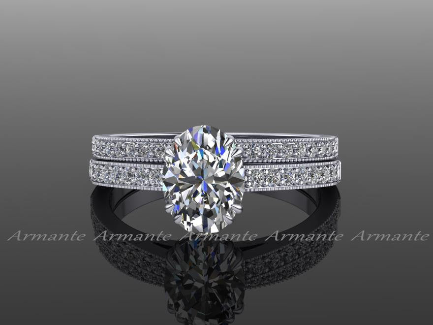 Style Oval Cut Moissanite Diamond Wedding Ring Set