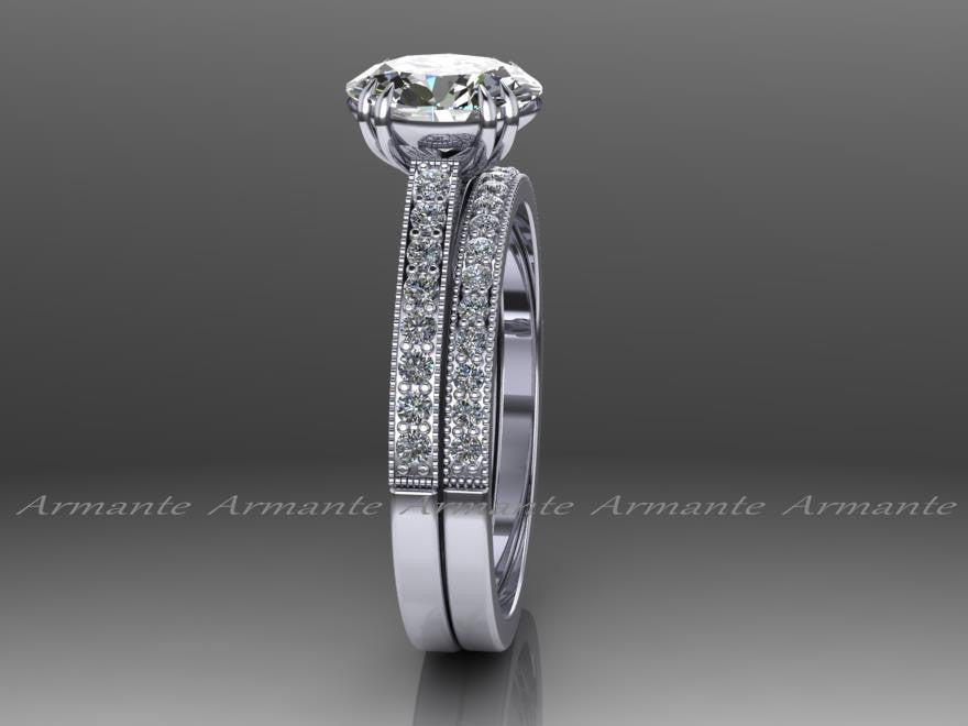 Vintage Style Oval Cut Moissanite & Diamond Wedding Ring Set