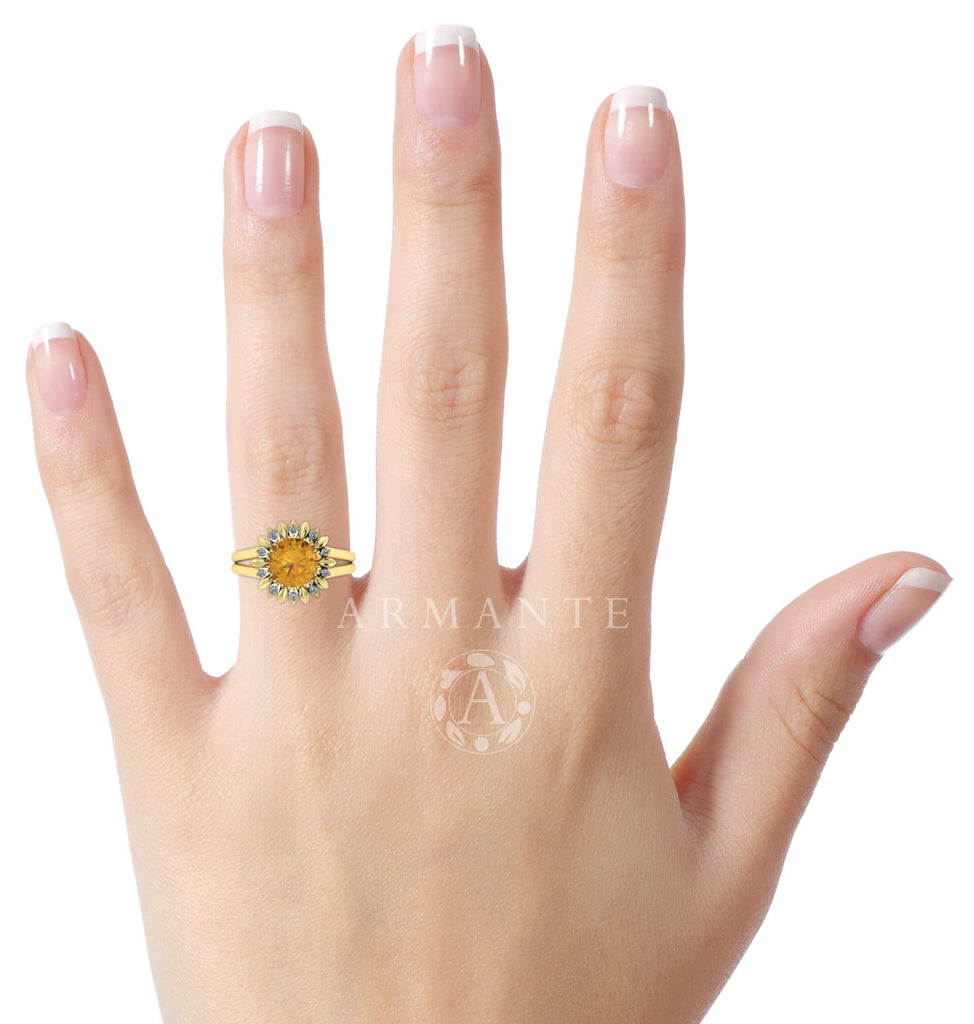Citrine And Diamond Flower Ring, 14K Yellow Gold
