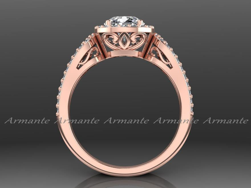 Halo Filigree Moissanite & Diamond Bridal Ring 14K Rose Gold