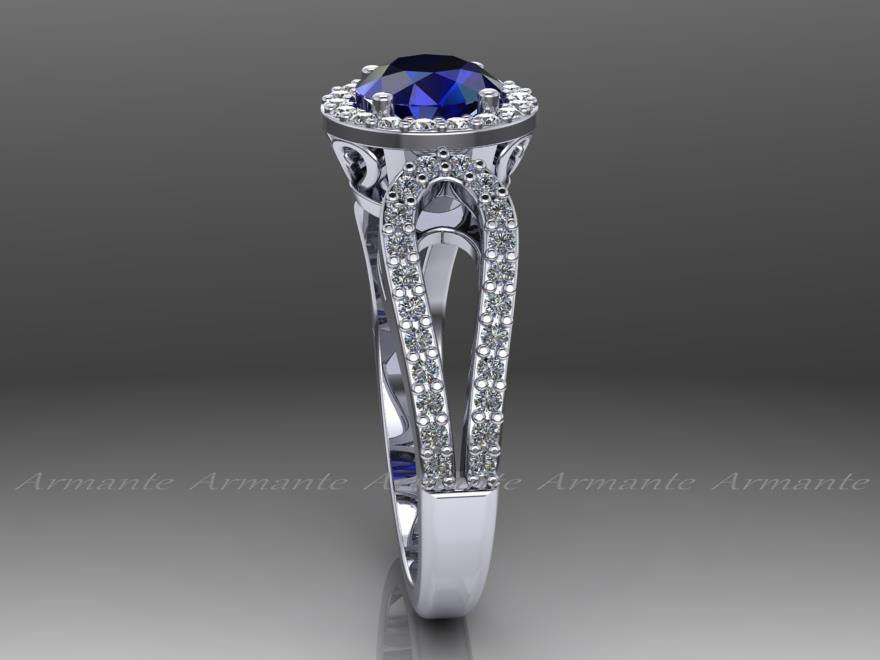Halo Sapphire and Diamond Wedding Ring