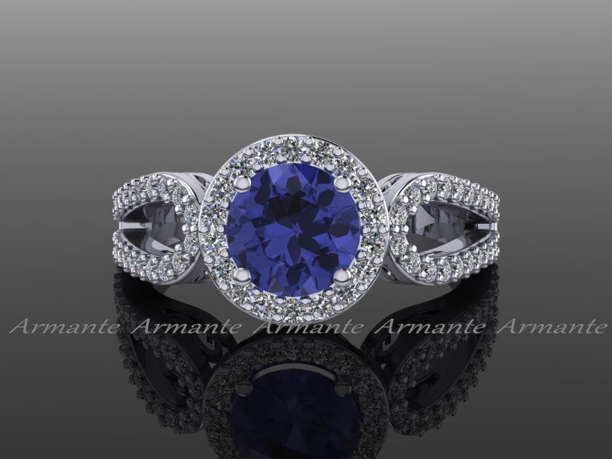 Tanzanite Engagement Ring, White Gold Diamond Filigree Wedding Ring