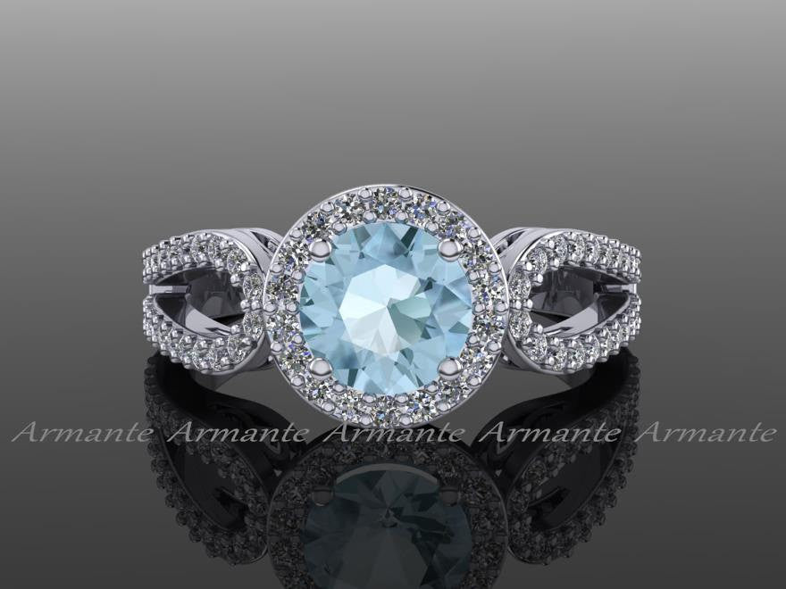 Aquamarine Engagement Ring, Halo Diamond Filigree Wedding Ring