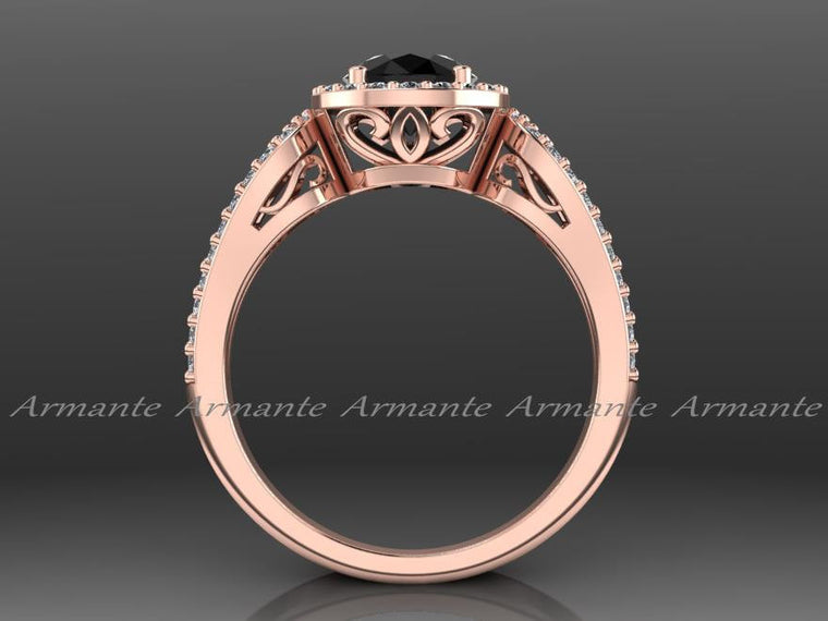 14K Rose Gold Black And White Diamond Wedding Ring