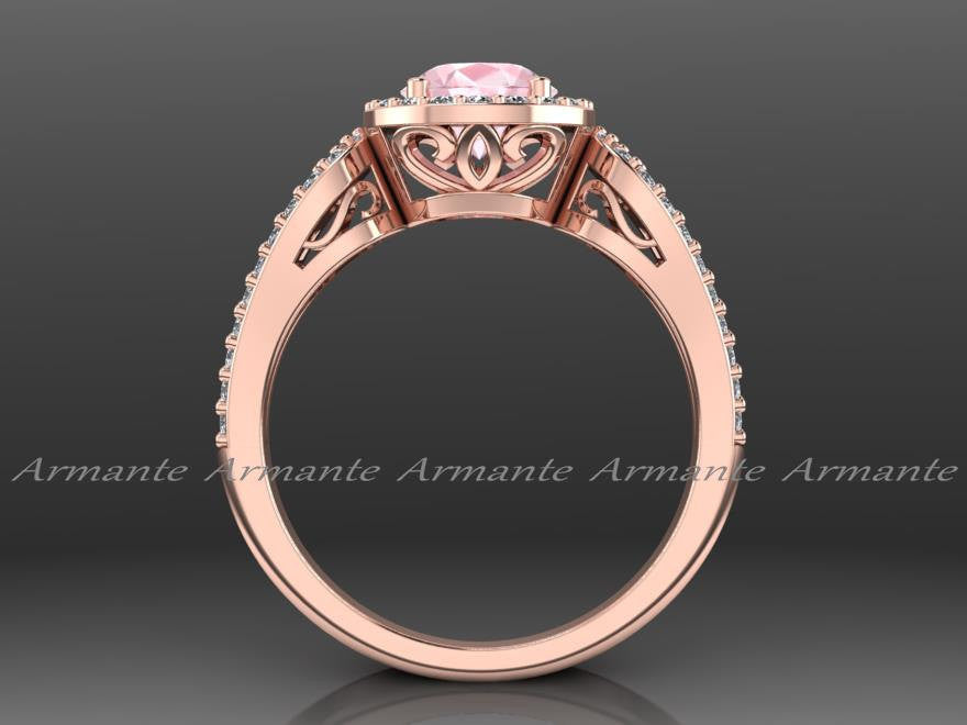 Morganite & Diamond Rose Gold Engagement Ring