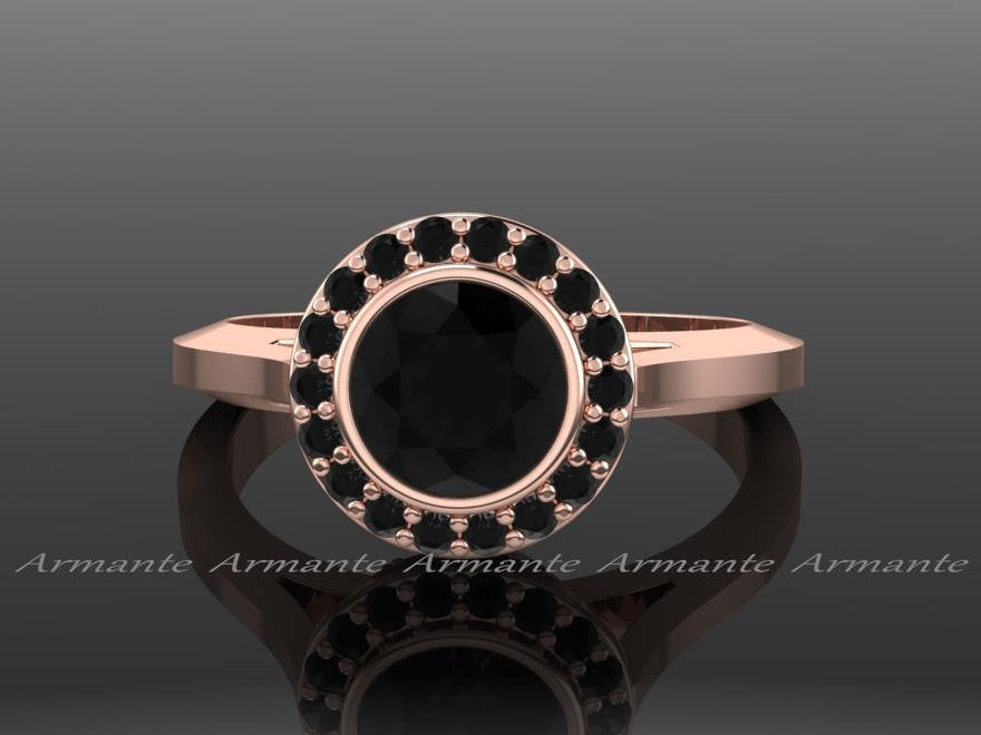 Rose Gold Black Diamond Vintage Style Engagement Ring