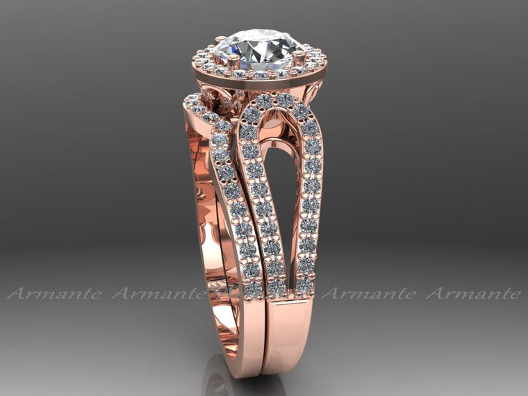 14K Rose Gold Wedding Ring Set, Bridal Rings Set