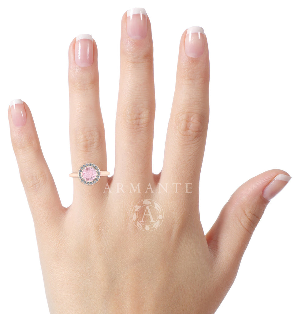 Halo Morganite Vintage Style Ring, 14K Rose Gold