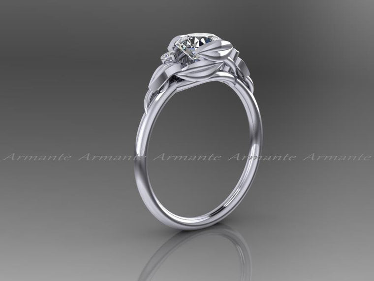 Engagement Ring, Unique Moissanite And Diamond Ring, Flower Leaf Engagement Ring,14k White Gold. Re00145