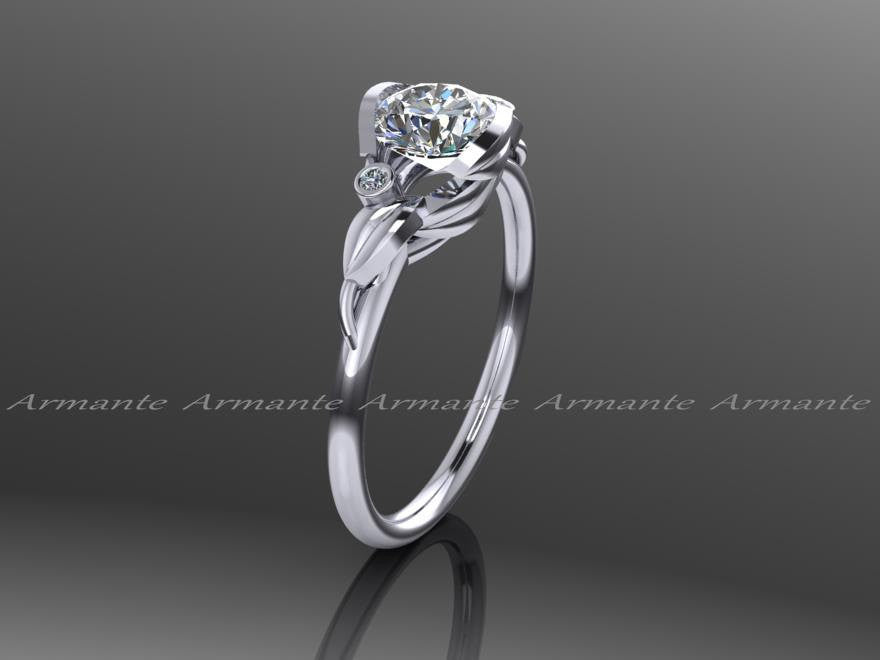 Unique Moissanite And Diamond Flower Leaf Engagement Ring