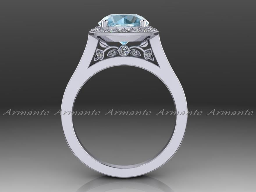 Vintage Aquamarine and Diamond White Gold Engagement Ring