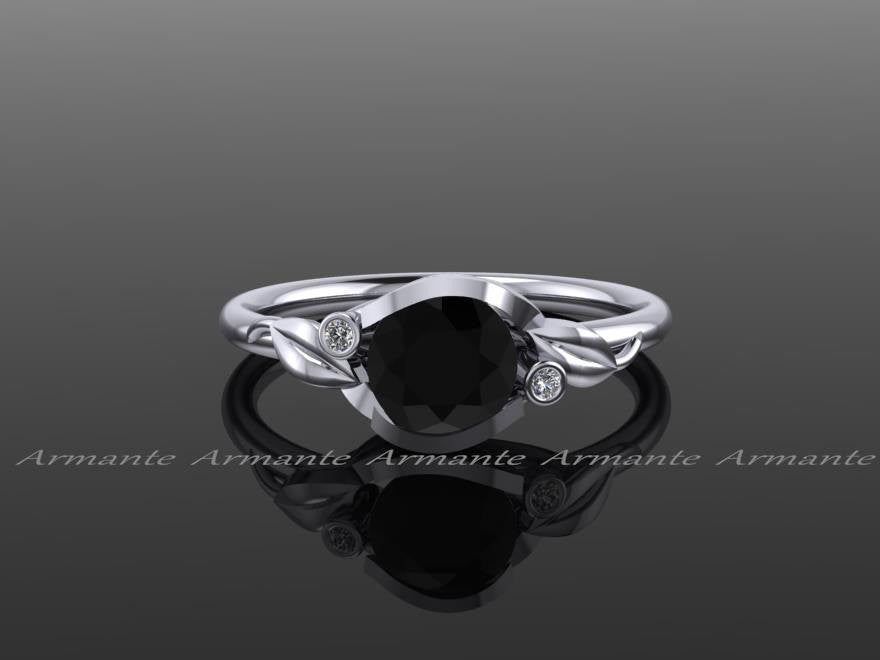 Flower Leaf Engagement Ring, Black And White Diamond Ring