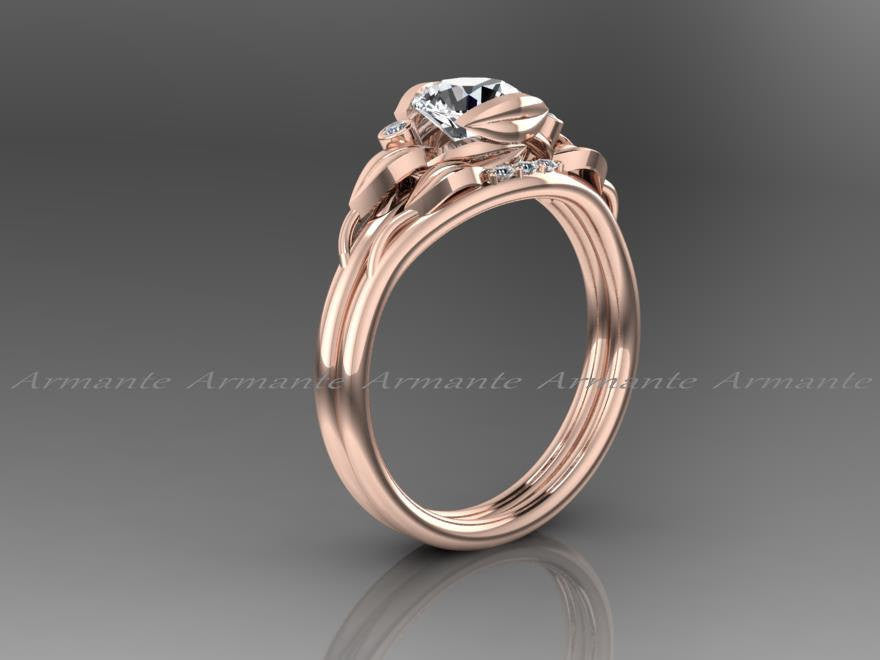 Floral White Sapphire Engagement Ring Set, Rose Gold