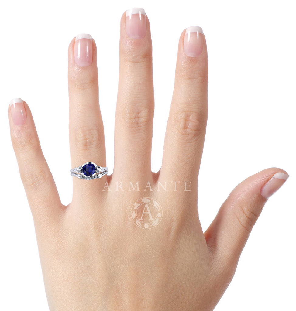 Blue Sapphire Bridal Set, Flower Leaf Diamond Engagement Set
