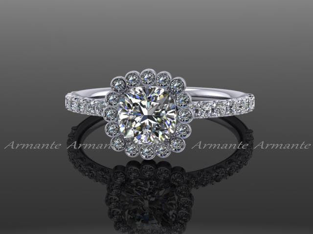 Forever Brilliant Moissanite And Diamond Engagement Ring, 14k White Gold Halo Engagement Ring Re00024w