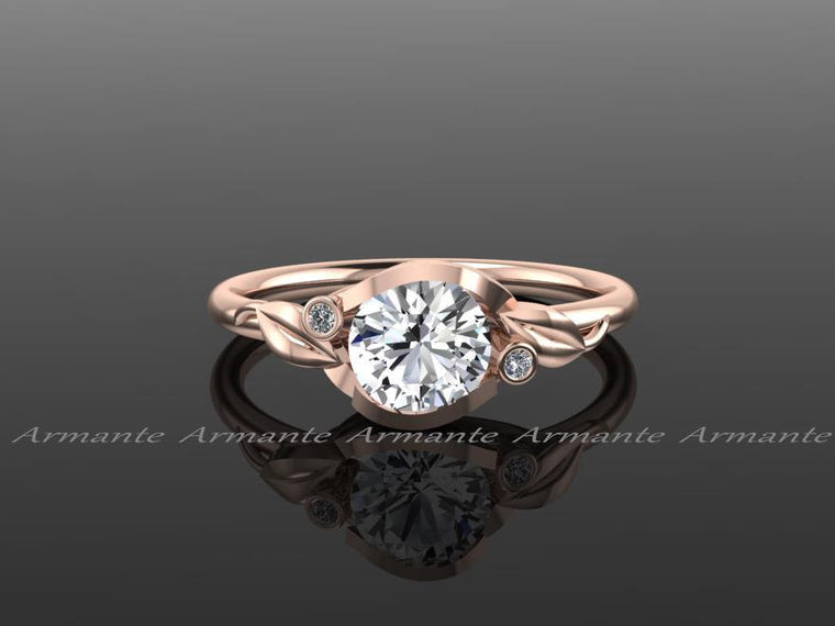 Engagement Ring Flower Leaf White Sapphire 14k Rose Gold White Sapphire And Diamond Wedding Ring Re00145rws