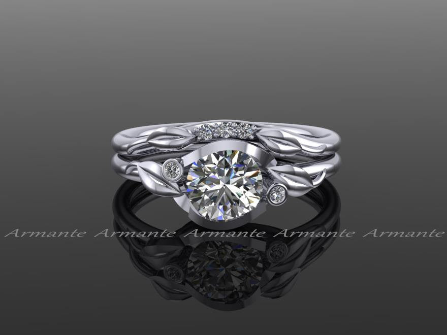 Moissanite & Diamond Floral Engagement Ring Set