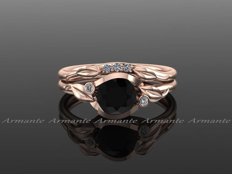 Black And White Diamond Bridal Ring Set, 14K Rose Gold