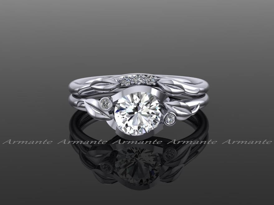 White Sapphire Floral Wedding Ring Set, 14K White Gold