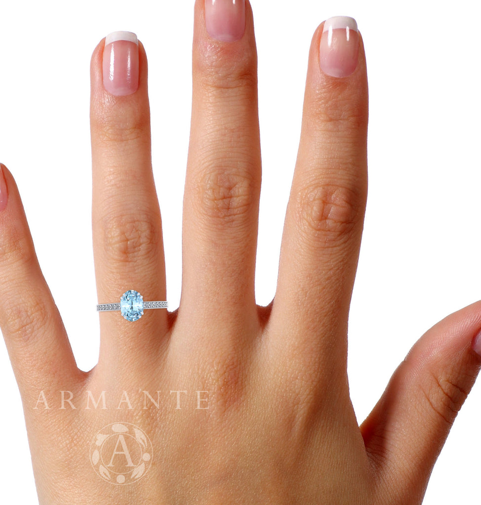Oval Cut Aquamarine and Diamond Wedding Ring