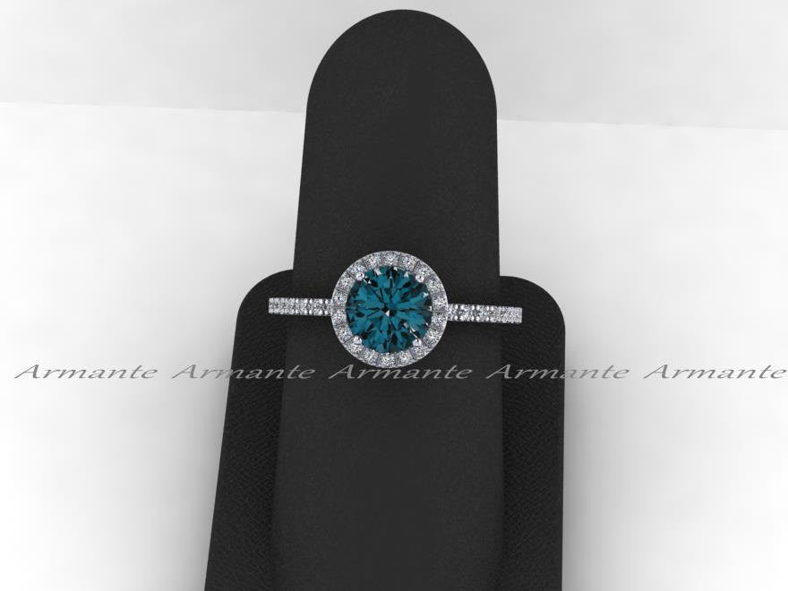 London Blue Topaz And White Sapphire White Gold Wedding Ring