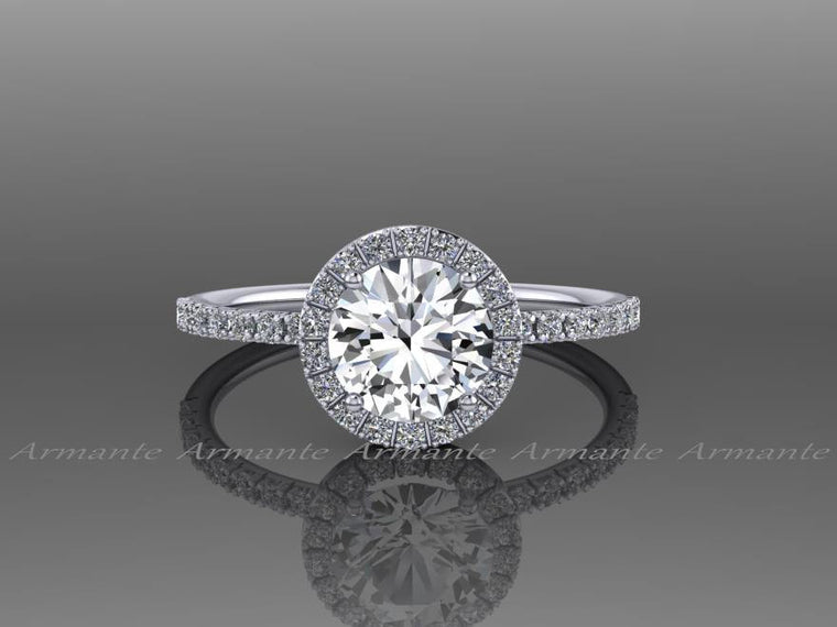 White Gold Halo White Sapphire Engagement Ring