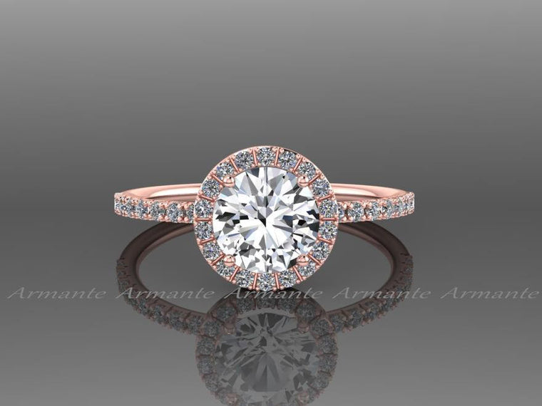 White Sapphire Engagement Ring 14k Rose Gold Natural White Sapphire Ring Re00073r