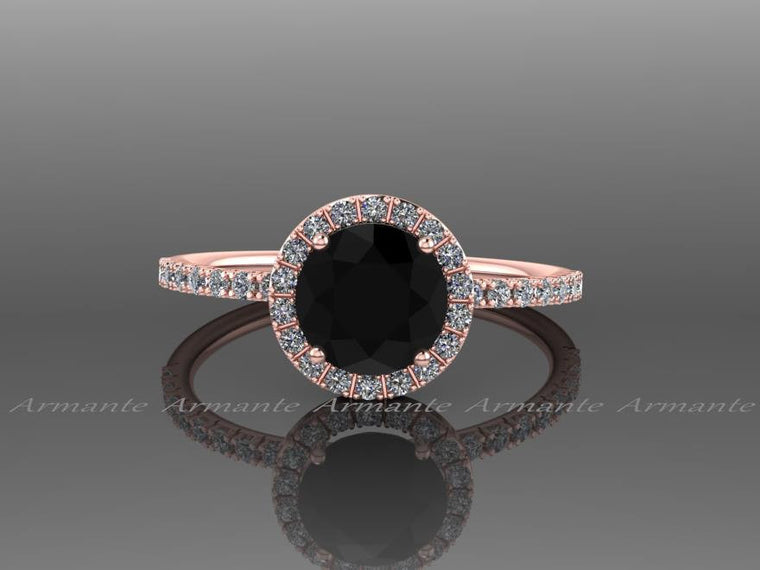 Halo Black Diamond Engagement Ring, Diamond Wedding Ring