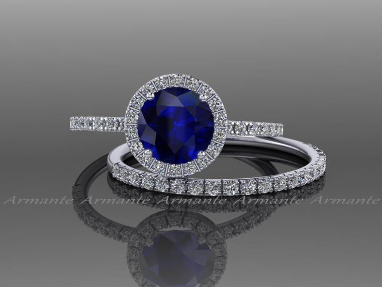 blue and white sapphire wedding ring set - Blue Sapphire Wedding Ring Sets