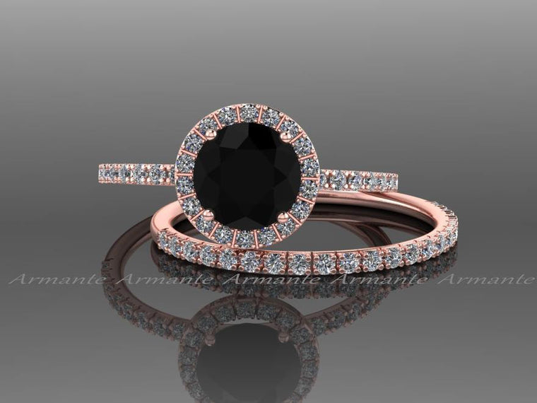 Rose Gold White Sapphire And Black Diamond Wedding Ring Set