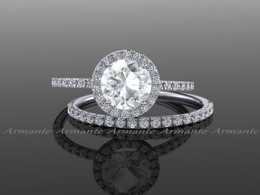 Diamond Free White Gold White Sapphire Halo Wedding Set