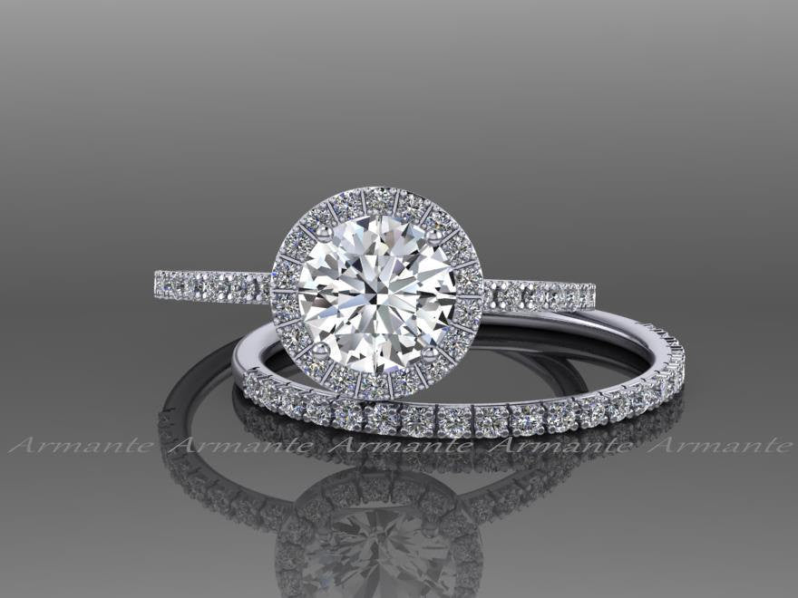 moissanite ring gold white and band wedding matching pave sapphire set engagement diamond