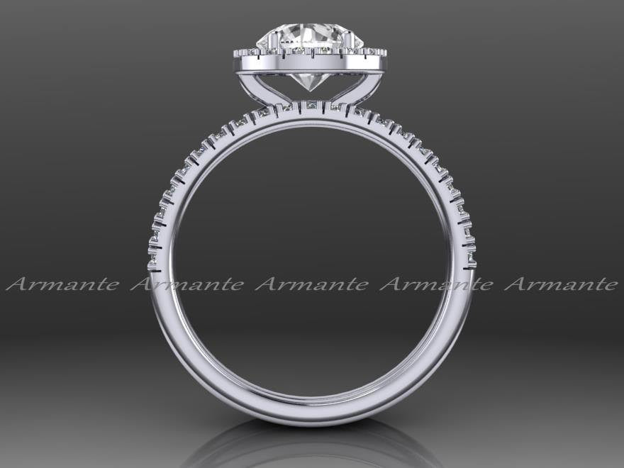 White Sapphire Engagement Ring Set, 14K White Gold
