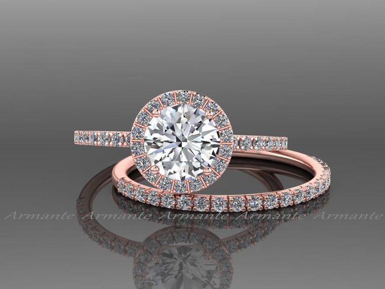 Rose Gold White Sapphire Engagement Set, Diamond Free