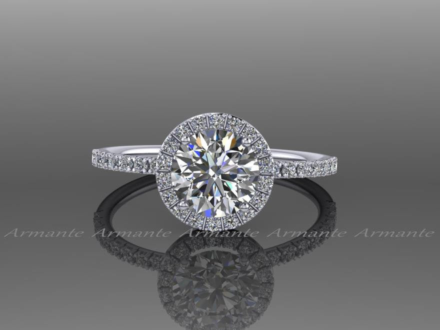 Diamond Free Moissanite And White Sapphire Halo Engagement Ring