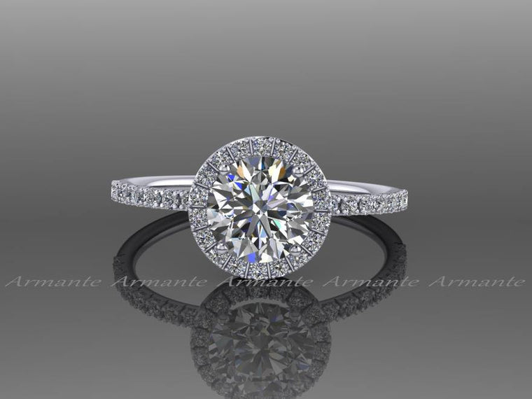 Moissanite And White Sapphire Halo Engagement Ring, Diamond Alternative 14k White Gold Halo Wedding Ring, Bridal Jewelry Re00073w