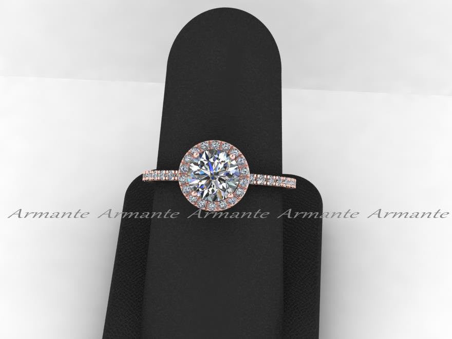 Moissanite & White Sapphire 14K Rose Gold Halo Wedding Ring