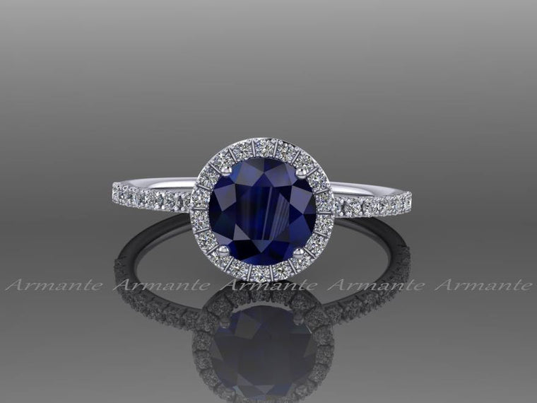 Lab Grown Blue Sapphire Engagement Ring, Diamond Free Ring