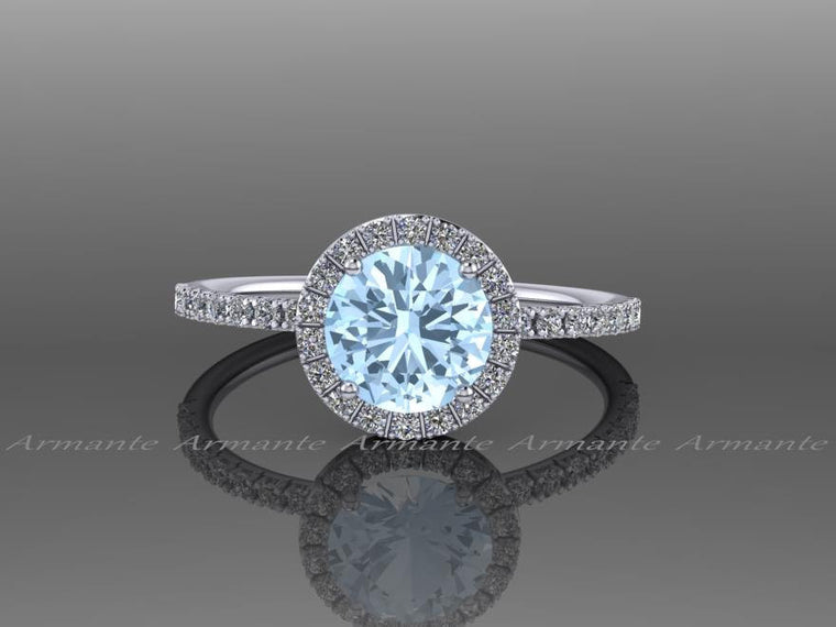 Halo Aquamarine And White Sapphire Wedding Ring